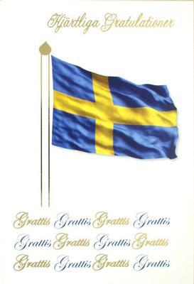 Svenska flaggan , folierad text '' Hjärtliga Gratulationer ''