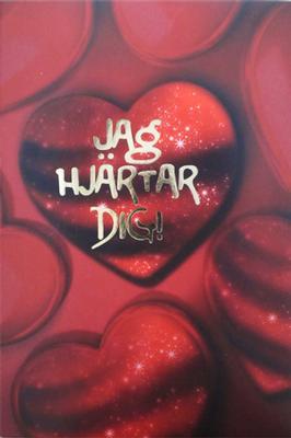 Hjärtan och folierad text '' Jag hjärtar dig''