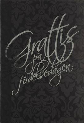 Ornament mönster i svart, folierad text '' Grattis på födelsedagen ''