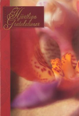 Orkidée , folierad text '' Hjärtliga Gratulationer ''