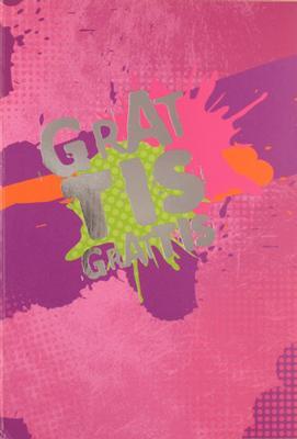 Rosa, gröna splattar, folierad text '' Grattis ''