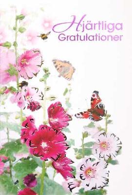 Hjärtliga Gratulationer Rosa blommor o fjäril