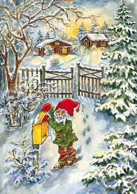 Tomte i vinterlandskap som postar brev