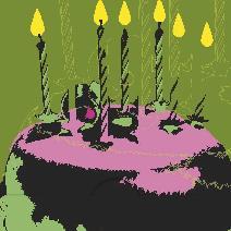Spacad  födelsedagstårta , grön bakgrund