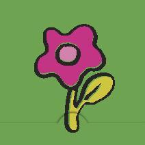 Rosa blomma, grön bakgrund