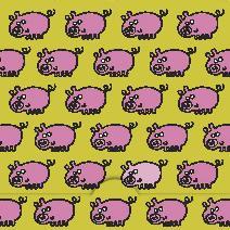 Mönster med rosa grisar, grön bakgrund