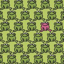 Gröna grodor, rosa groda mönster