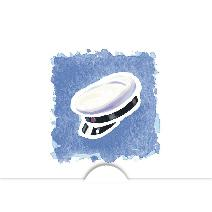 Studentmössa akvarell, blå bakgrund