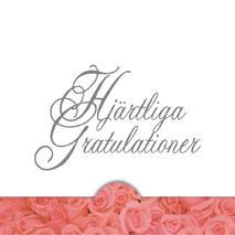 '' Hjärtliga Gratulationer '' Folierad text , rosa roser