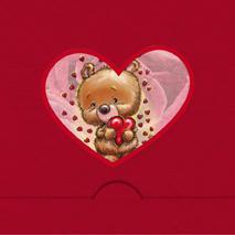 Rödfolierat hjärta med Nalle och hjärtan