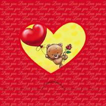 Rödfolierat hjärta med Nalle och ballonghjärta