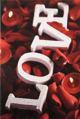 LOVE , rosblad & ljus