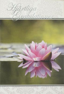 Rosa näckros , folierad text '' Hjärtliga Gratulationer ''