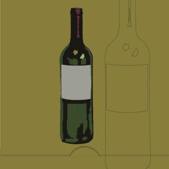 Vinflaska, olivgrön bakgrund