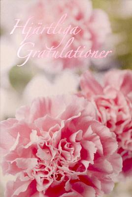 Rosa blommor '' Hjärtliga Gratulationer ''