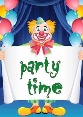 Inbjudningskort med clown