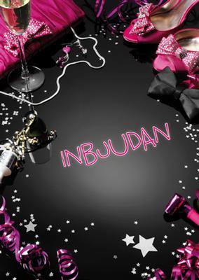 Inbjudningskort rosa & svart
