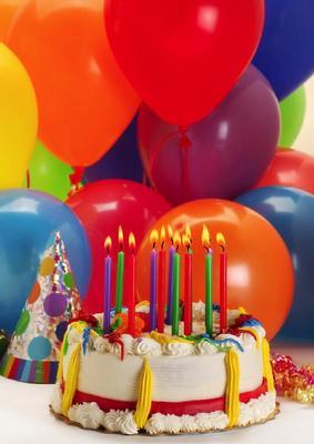 Födelsedagstårta & ballonger