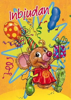 En mus med partyhatt och ballong i handen.