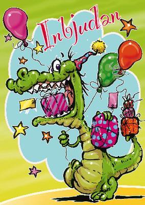 Krokodil med paket och ballonger.