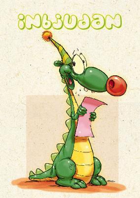 Ljust kort med krokodil i partyhatt