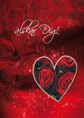 Röda rosor och ett hjärta '' Älskar dig ''