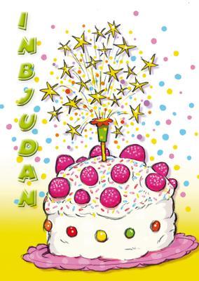Inbjudningskort Tecknad godis tårta