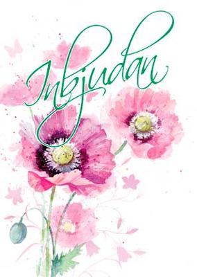 Inbudningskort Rosa blommor