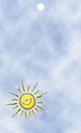 Gul sol med himmelsblå bakgrund