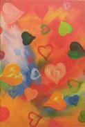 Många färgade hjärtan