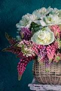 Minikort Blommor i Korg, Textfri