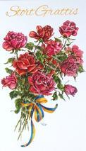 Röda rosor, blågula band, Stort Grattis