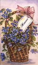 Lila blommori korg, Tack