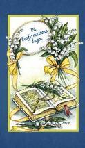 Blått kort med bibel och liljekonvaljer.''På konfirmationsdagen''