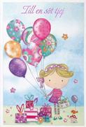 Till en söt tjej, Flicka med paket o ballong