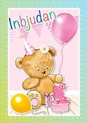 Inbudningskort nalle ballong