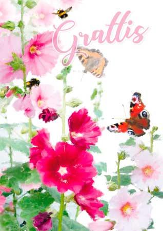 blommor grattis A4 Vykort Fjärilar, Blommor, Grattis blommor grattis